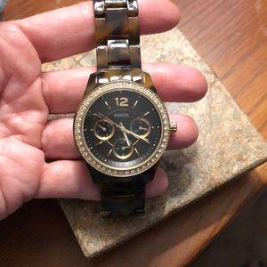 Fossil tortoise shell watch